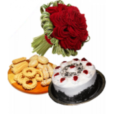 2 Pound Cake 1 kg Special Biscuits 12 Red Roses