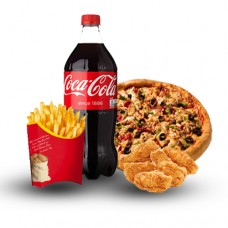 Chicken Tikka Pizza, Nuggets, Fries and Coke