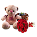 Teddy Bear, 2 pound Chocolate Cake  and 12 Red roses