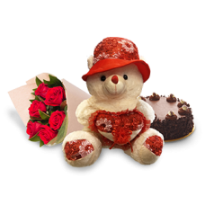 Teddy Bear, 2 pound Chocolate Cake and Red Roses Bouquet