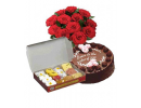 1 Pound Chocolate Cake 2KG Sweets and Flowers Bouqets