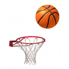 Sports Basket Ball with Net - Standard Size - Multi Color